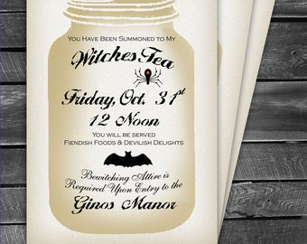 Personalized Witches Tea Halloween Invitation (Digital File) Personalized