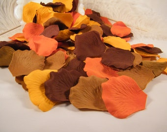 500 Rose Flower Petals Fall Autumn Colors / Brown Maple Orange Yellow Gold / Wedding Decoration / Flower Girl Petals