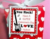 Printable Valentine You Rock Cards for Treat Tags, Favor Tags, Cupcake Toppers - Guitar