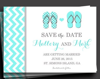 Flip Flop Invitation Printable or Printed with FREE SHIPPING - Save the Date, Rehearsal Dinner, Birthday, Wedding
