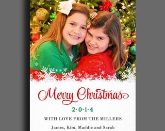 Christmas Photo Card Printable or Printed with FREE Shipping - Snowflake Overlay