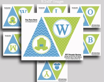 Welcome Baby Banner Printable - Instant Download - Baby Boy Onsie Collection