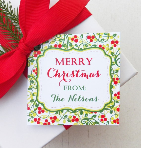 Personalized Holly Christmas Gift Tags PRINTED or PRINTABLE