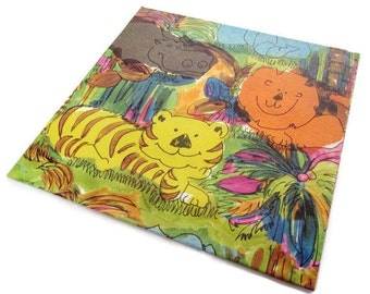 Vintage Wrapping Paper - Jungle Fun All Occasion Gift Wrap - Lion Tiger Hippo Elephant - One sheet.