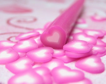 rose pink heart polymer clay cane uncut 1pc for decoden crafts nail art and miniature food decoration valentine