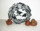 Coiled Fabric Basket Bowl Crow Raven Black White