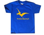 Personalized Pterodactyl Dinosaur Shirt - any name - pick your colors!