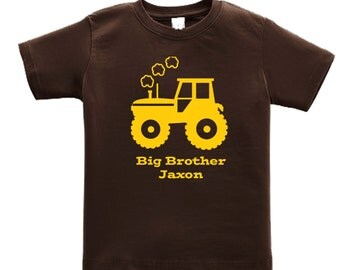 Personalized Big Brother Tractor Shirt -any name - pick your colors!