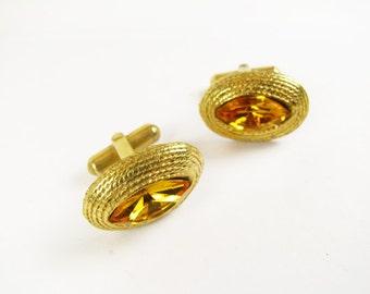 Vintage Amber Rhinestone Cufflinks in Gold Tone / Vintage Wedding Cufflink Set - Boutons de Manchette.