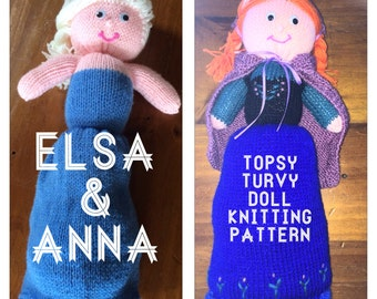 Knitting Patterns For Elsa : Anna and Elsa from Frozen Topsy Turvy Doll