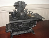 Antique Cast Iron Eagle Miniature Toy Stove Salesman Sample