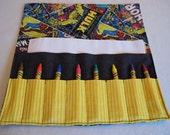 Superheros party favor Marvel Comics Retro print crayon roll crayon holder easter basket crayon wallet
