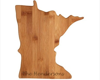 Engraved Minnesota Cutting Board - Minnesota Shaped Bamboo Cutting Board, Custom Engraved - Wedding Gift, Couples Gift, Housewarming Gift