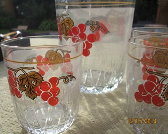 Vintage Ice Buckets 2 And Glasses Set / Italy / Red Patterns 6 Glasses