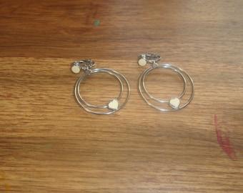vintage clip on earrings silvertone hoop dangles