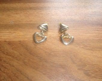 vintage clip on earrings goldtone heart dangles