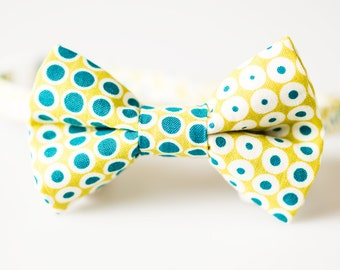 Boys Bow Tie - Green with Blue Dots - Toddler Bowtie