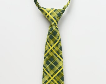 Little Boy Neck Tie - Lime Green Plaid - Baby Necktie