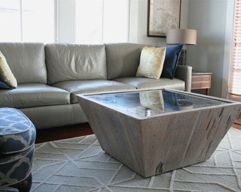 The Miro Table-Square Reclaimed Wood Coffee Table with Antique Mirrored Top
