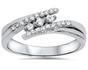Princess Cut Diamond Engagement Ring, Princess Cut 3 Stone Diamond Engagement Ring 1/5CT Diamond Promise Ring 10K White Gold Size (4-9)