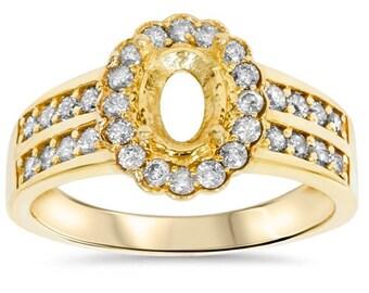 Halo Oval Semi-Mount, Yellow Gold Diamond Halo Mounting,  Oval Diamond Halo Engagement Ring Mounting.