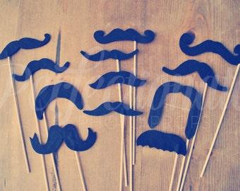 12 Felt Mustache Props | Mustache Photo Booth Props | Mustache Prop | Mustache on a stick