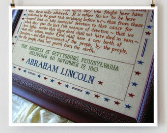 272 Words : Gettysburg Address Primrose Needleworks counted cross stitch patterns Abraham Lincoln November embroidery