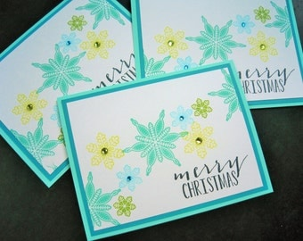 Snowflake Christmas Cards Set of 3, Holiday Cards Set, Merry Christmas Cards