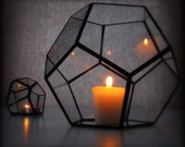 Geometric Light / Hurricane Lantern / Glass Candle Holder  / Dodecahedron Terrarium / Minimalist Decor