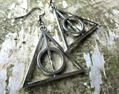 Harry potter earrings, Deathly Hallows, Silver earrings, HP charm, silver Harry Potter, Elder wand, triangle, fishhook earrings, HP jewelry