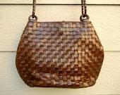Vintage 70s 'Cem' Woven Chocolate Brown Leather Bucket Shoulder Bag