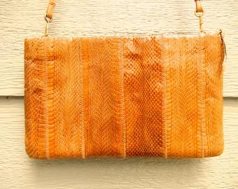 Vintage 70s Tan 'Clement' Snakeskin Convertible Shoulder Bag