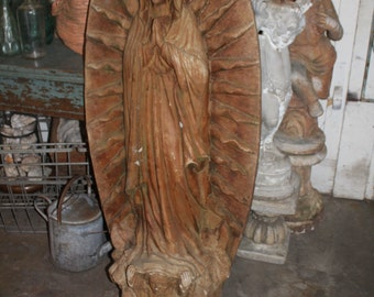 19th c. NOCAL Church Demolition Virgin Mary of Guadalupe Statuary Full Size c. 50s