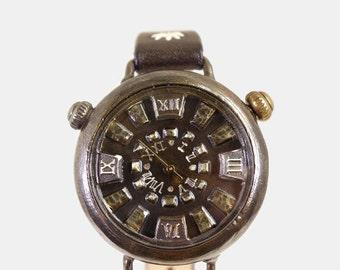 Vintage Retro Steampunk Handcraft Watch. Handstitch Leather Strap. WatchForChun-Li - Perfect Gift for Birthday and Anniversary