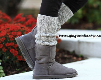 Leg Warmers - Boot cuffs - Woman Leg Warmers - Cable Knitted - Hand Knit - 100% wool - Light Grey - Winter Accessories