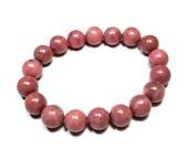 Pink Rhodonite  - Therapeutic Quality Gemstone Bracelet for Healing 10mm spheres