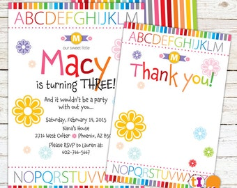 Rainbow Alphabet Birthday Party Invitation for Kids