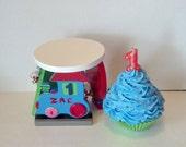 Little Boys Birthday Fake Cupcake Photo Prop Wooden Stan