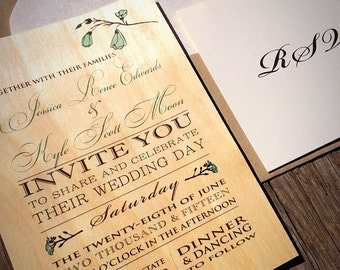 Real Birch Wood with Sage Flower Accents Wedding Invitations with Custom Envelope Liner