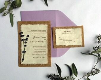 DIY Rustic Burlap and Lavender Wedding Invitation - Rustic Barn Woodland Wedding