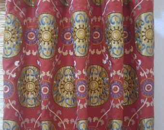 Braemore Karmana Red Embroidered Medallion Custom Curtains Rod Pocket Grommet Pinch Pleat Tab Top Panels 50x63 - 50x108