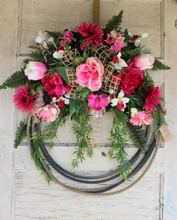 Western Lariat Rope Wreath with Spring Pink Flowers