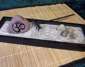 Zen Garden with 1 Engraved Stone OM Rock