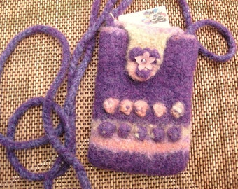 Purple and Pink knt and felted Cross-body I-phone bag