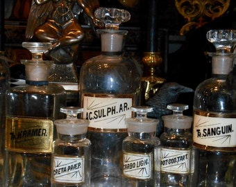 Antique Apothecary Bottles, 19th Century, Labels under Glass, 90 dollars each at Gothic Rose Antiques