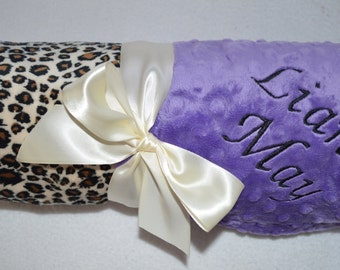 Monogrammed Minky Baby Blanket - Leopard Cheetah Print and Purple - Personalized Baby Gift with name Newborn