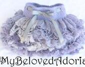 Crochet baby ruffle tutu skirt in shades of purple 3-6mo READY TO SHIP