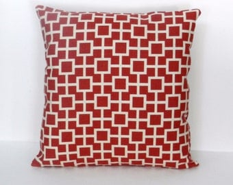 Red and Cream Geometric Pillow Cover, Linen Like Slub Home Dec Fabric,  18 x 18 inch, for sofa, chair, bed