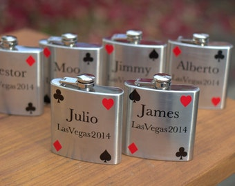 Vegas poker flask, Groomsman gifts.  Personalize with name, date and card suits.  6 ounce stainless steel flask, las vegas, texas hold 'em