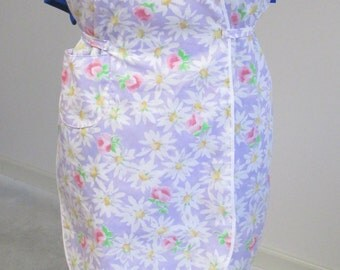 Wrap-around apron, lavender flowered